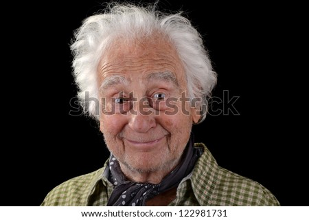 funny old man wearing a green checked shirt with white hair smiling - stock photo