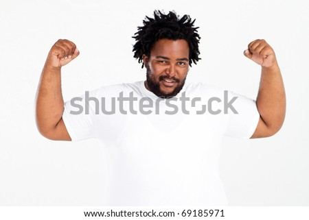 funny overweight african american man on white - stock photo