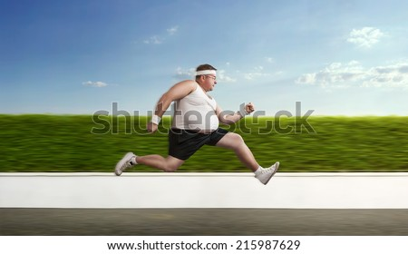 Funny overweight sportsman on the run - stock photo