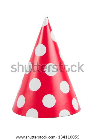 funny party hat isolated on white - stock photo