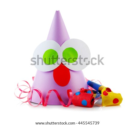Funny party hat with blowers on a white background - stock photo