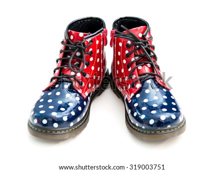 funny patent-leather boots with polka dots