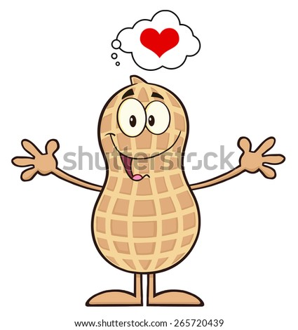 Funny Peanut Cartoon Character Thinking Of Love And Wanting A Hug. Raster Illustration Isolated On White - stock photo