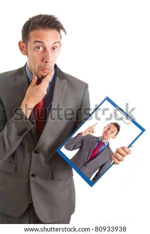 Funny pensive businessman showing himself having a nice idea - stock photo