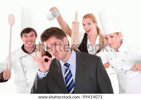 funny people posing in studio - stock photo