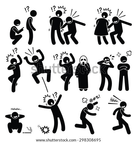 Funny People Prank Playful Actions Stick Figure Pictogram Icons - stock photo
