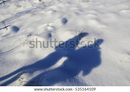funny peoples shadow on winter field