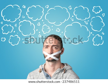Funny person with taped mouth and hand drawn clouds around head - stock photo
