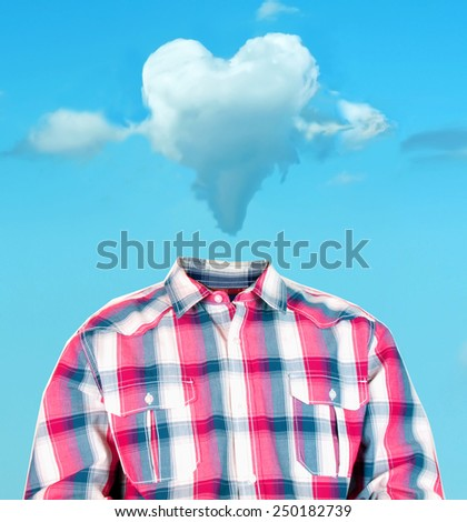 funny photo manipulation of a man's body with a heart shaped cloud as his head - stock photo