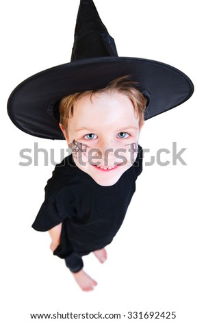 Funny photo of cute boy dresses for Halloween isolated on white - stock photo