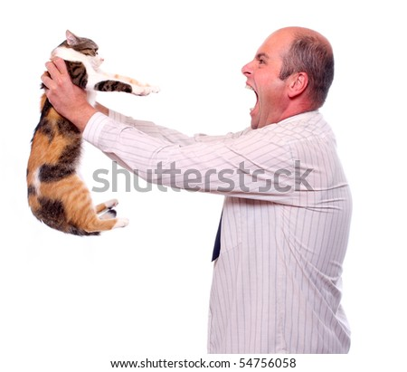 Funny picture. Angry businessman with cat.  Bossing metaphor. - stock photo