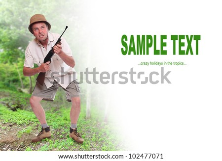 Funny picture of a crazy hunter with space for your text. - stock photo