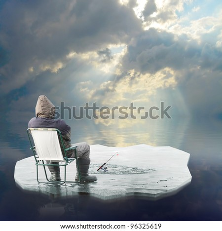 Funny picture of a ice fisherman floating on iceberg. Springtime metaphor. - stock photo
