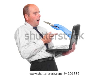 Funny picture of a surprised businessman with hacked laptop.