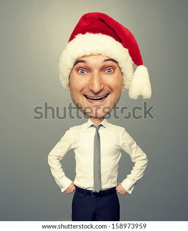 funny picture of joyful santa man with big head