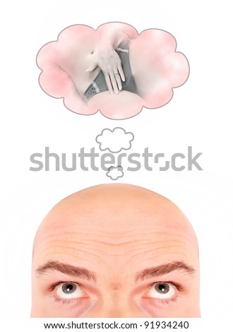 Funny picture of men's erotic dreams. Behavioral health concept. - stock photo