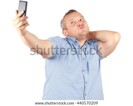 Funny picture of  plump man . businessman doing selfie.Isolated on white background.