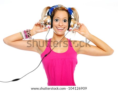 Funny picture of the girl with a headphones. - stock photo