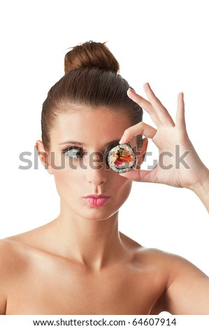 Funny picture of woman holding sushi roll on her eye. Isolated on white background. - stock photo