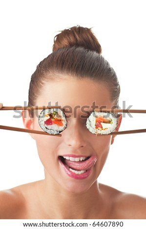 Funny picture of woman holding sushi rolls on her eyes. Isolated on white background. - stock photo