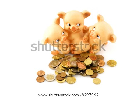 funny piggy-bank with many euros - stock photo