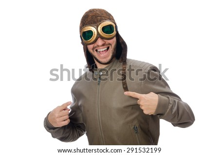Funny pilot isolated on the white - stock photo