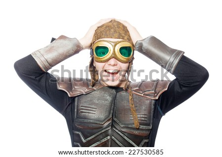 Funny pilot with goggles isolated on white