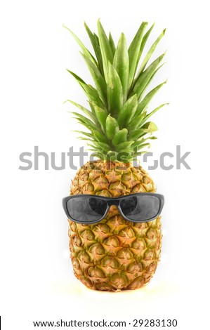 Funny pineapple with sunglasses isolated on white