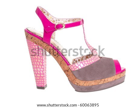 Funny pink high heels shoe on pure white background