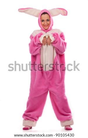 Funny pink rabbit  isolated on white background - stock photo