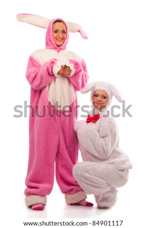 Funny pink rabbit with white rabbit isolated on white background - stock photo