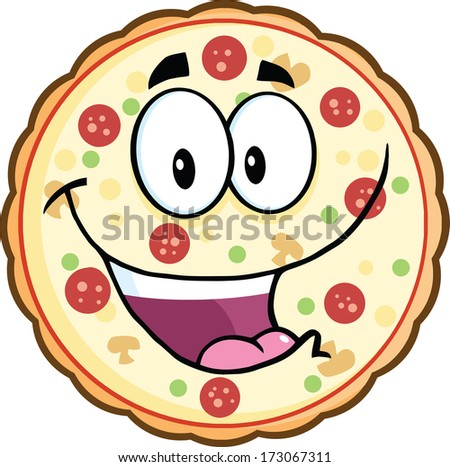 Funny Pizza Cartoon Mascot Character. Raster Illustration Isolated on white - stock photo