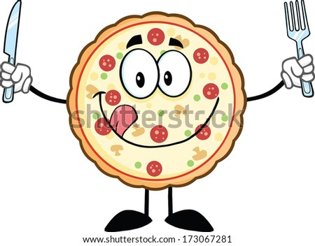 Funny Pizza Cartoon Mascot Character With Knife And Fork. Raster Illustration Isolated on white - stock photo