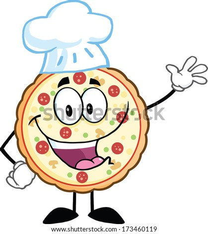 Funny Pizza Chef Cartoon Mascot Character Waving With Speech Bubble. Raster Illustration Isolated on white - stock photo