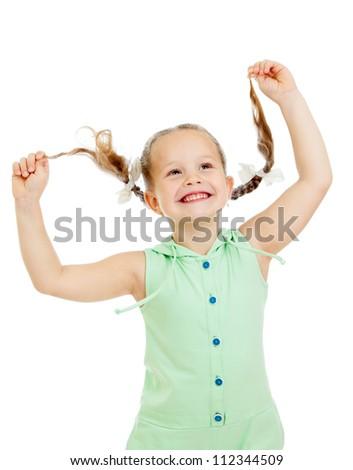 funny playful child girl on white background - stock photo