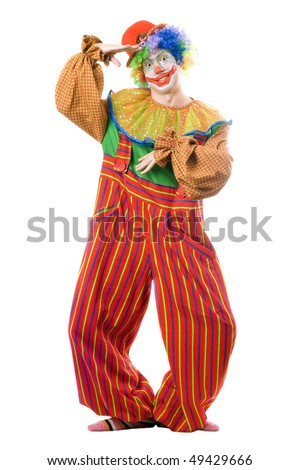 Funny playful clown. Isolated on white background - stock photo