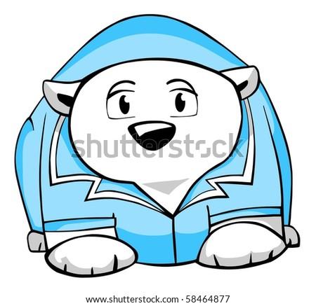 Funny polar bear in a doctor's smock. - stock photo