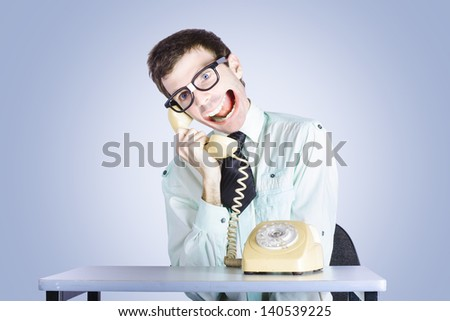 Funny portrait of a loud nerdy business man making lots of big talk with his huge mouth