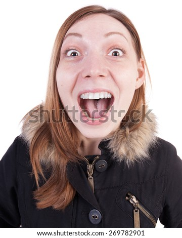 Funny portrait of a woman screaming. Isolated on white background. - stock photo
