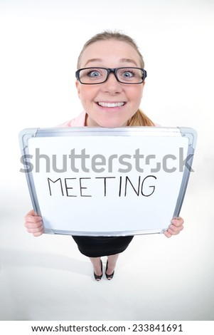 funny portrait of a young women holding a clipboard - fisheye shoot - stock photo