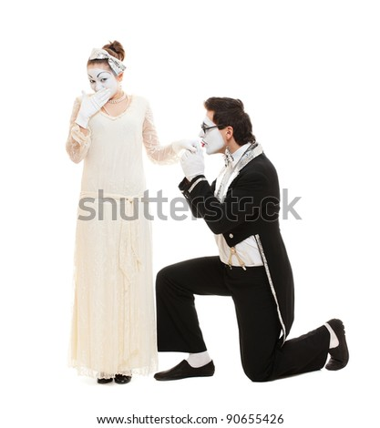 funny portrait of mimes in love. isolated on white background - stock photo