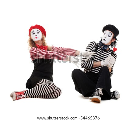 funny portrait of mimes. isolated on white background - stock photo