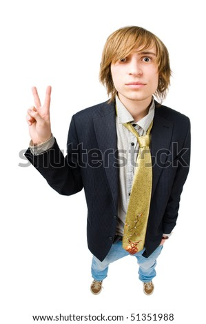 Funny portrait of young man. Fisheye lens - stock photo