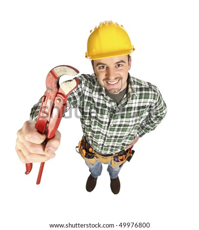 funny portrait of young manual worker with big red wrench - stock photo