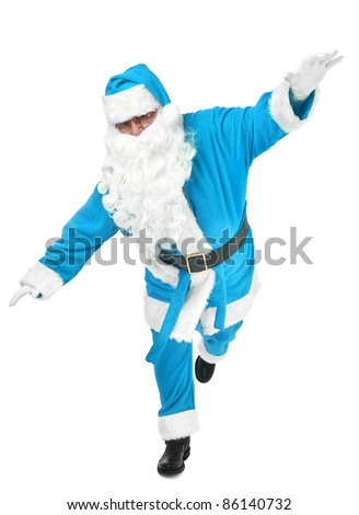 funny pose of blue santa claus on white background - stock photo