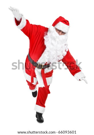 funny pose of santa claus on white background - stock photo