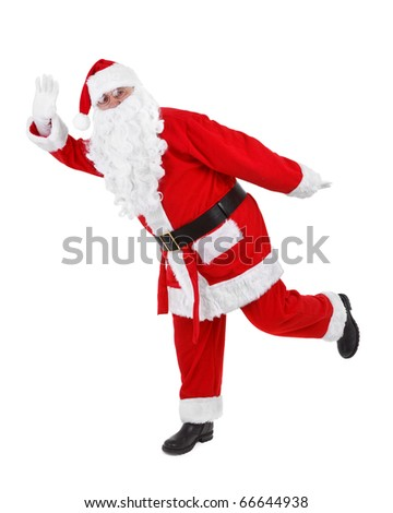 funny pose of santa claus on white background - stock photo