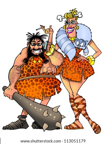 funny prehistoric man and woman - stock photo