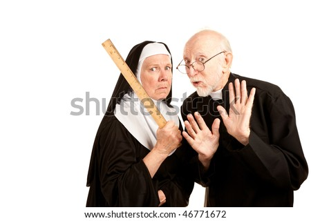 Funny priest admonishes mean nun not to use ruler as a weapon - stock photo