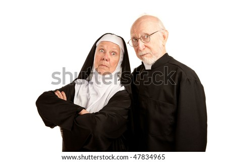Funny priest and nun on white background - stock photo